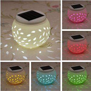 SOLMORE Lampe Solaire LED Céramique Boule 7 Changements de Couleurs Ampoule Festival Décoration Atmosphère Éclairage…