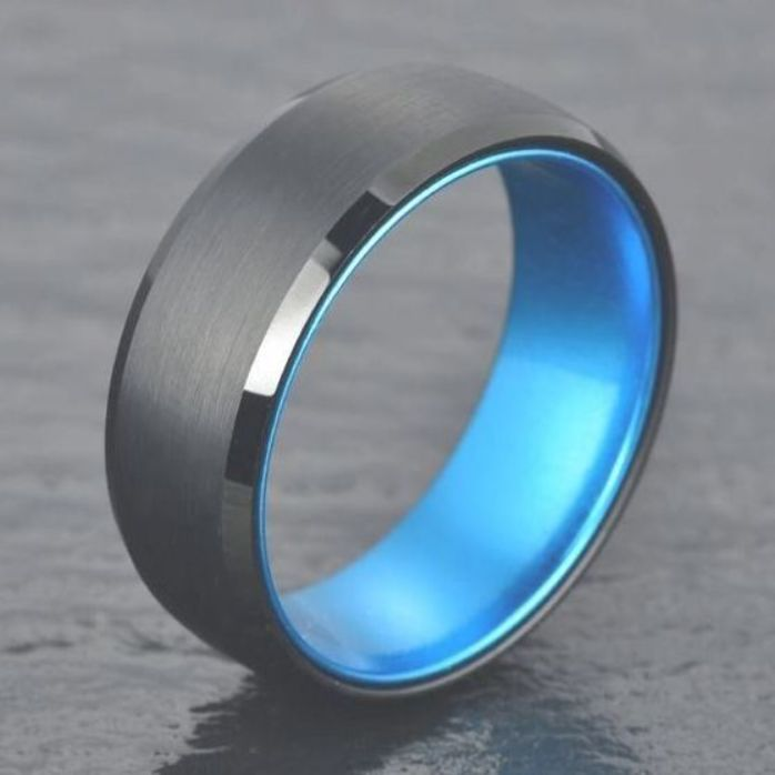 If You Re Interested In Buying A Tungsten Wedding Ring Then You Should Buy This Black Black Tungsten Wedding Ring Blue Wedding Rings Tungsten Engagement Rings