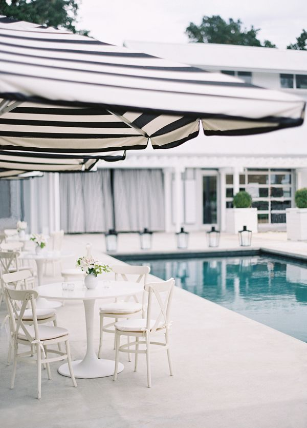 Poolside Black And White Striped Umbrellas. Photography By Jose Villa  Photography