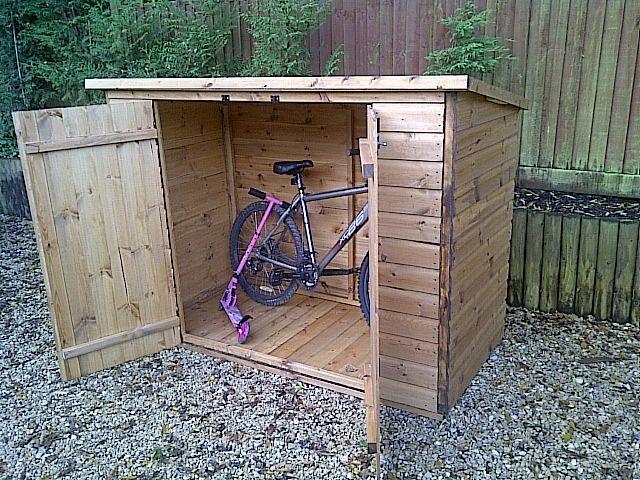 Garage, Bike Storage Redwood Ideas: Save Your Bike Safely: Bike Storage Shed