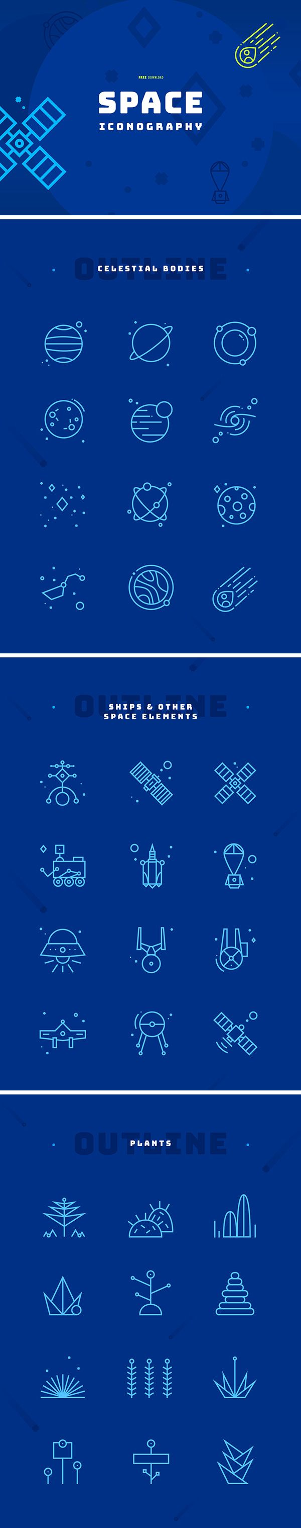 If you're looking for Space Iconography Free Icons then have a look at this icons set. This is collection of 36 neatly designed icons inspired by celestial bodies and other various space elements. Download it for free and add to your freebie collection right now!