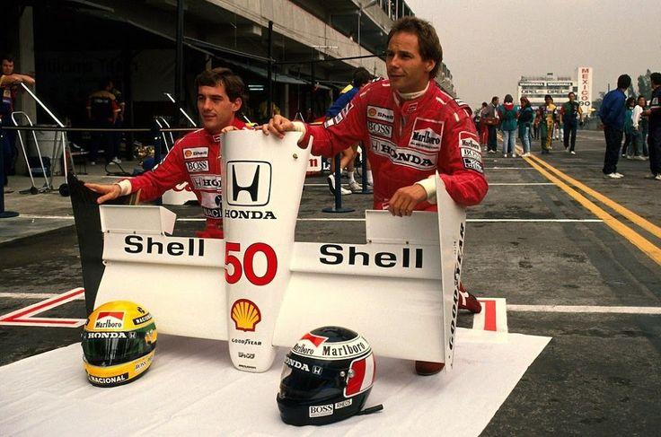 Ayrton Senna (BRA) (Honda Marlboro McLaren), McLaren MP4/5B - Honda RA109E 3.5 V10 (finished 20th) Gerhard Berger (AUT) (Honda Marlboro McLaren), McLaren MP4/5B - Honda RA109E 3.5 V10 (finished 3rd) 1990 Mexican Grand Prix, Autódromo Hermanos Rodríguez