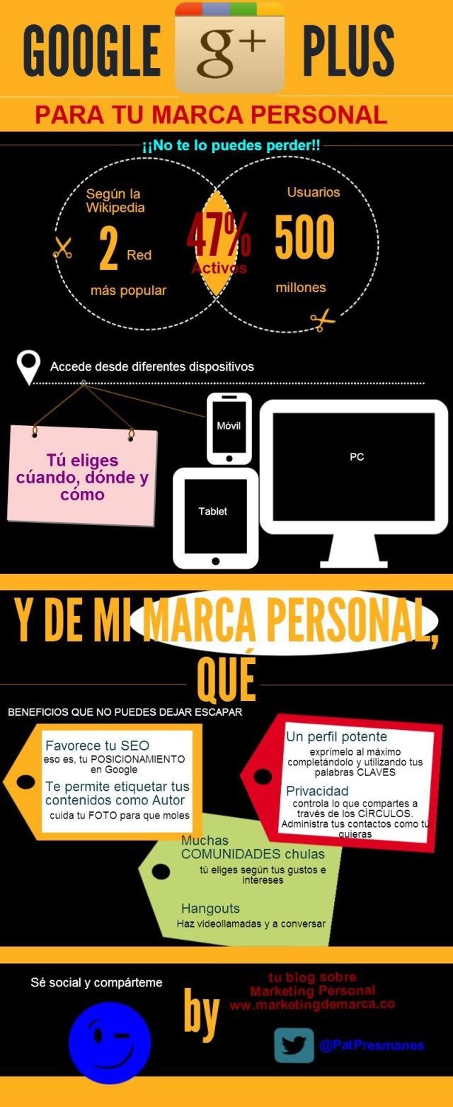 Google + para tu marca personal #infografia #infographic #marketing #socialmedia