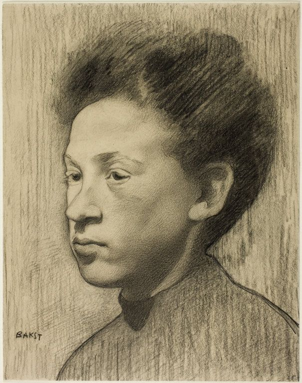 Léon Bakst (Russian, 1868-1924) - Head of a Woman