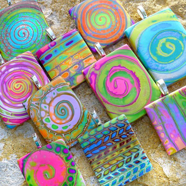 amazing colors! ... Spirit Swirl Pendants by purplecactusstudios