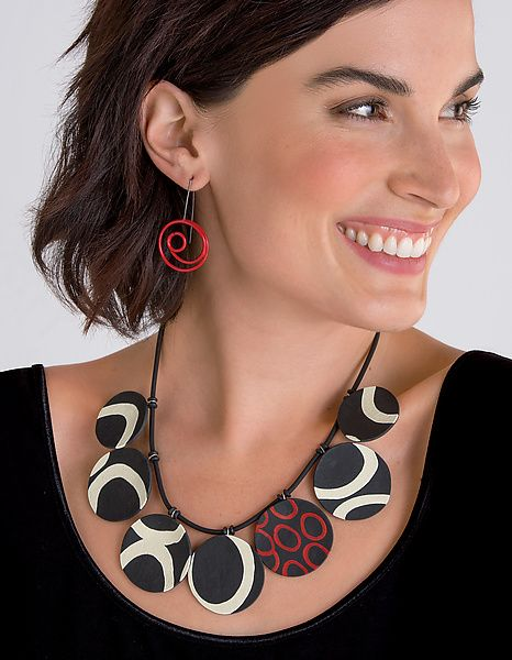 Sandra+Necklace by Klara+Borbas: Polymer+Clay+Necklace available at www.artfulhome.com