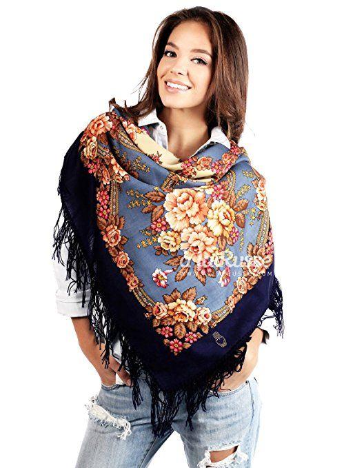 Russischer Schal Tuch OLESIA in blau, 100% Wolle, mit Paisley und Blumen, mit Fransen, hochwertige Stola - 100% Original, sehr hohe Qualität
