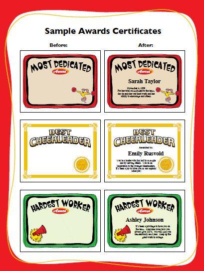 cheerleading certificate cheerleader awards cheer team printables child girls certificates