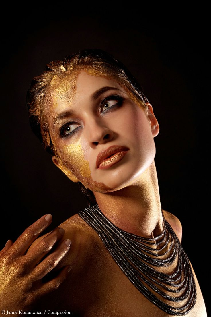 """""""Rough gold"""" Silver jewelry by Calgaro/Italy, Photography by Janne Kommonen, body painting by Riina Laine, model Iris"""