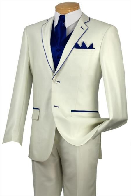 #Solid #white or #Ivory with #Navy #blue #trim #microfiber #two #button #notch #lapel #tuxedo.$585