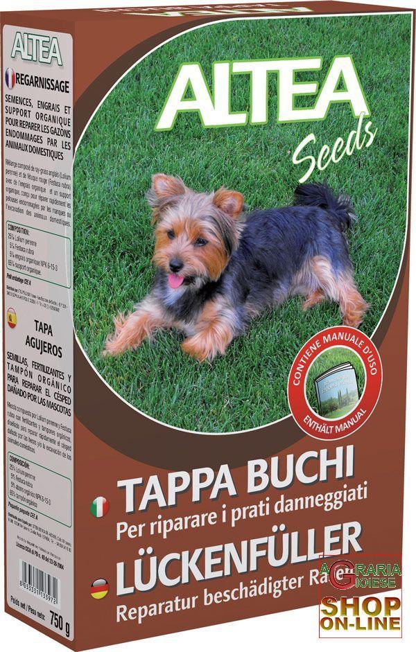 ALTEA TAPPA BUCHI SEME+FERTILIZZANTE+TAMPONE ORGANICO PER RIPARARE I PRATI DANNEGGIATI 750 g https://www.chiaradecaria.it/it/altea/490-altea-tappa-buchi-seme-fertilizzante-tampone-organico-per-riparare-i-prati-danneggiati-750-g-8033331133972.html