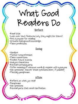 "FREE ""What Good Readers Do"" poster : )  #whatgoodreadersdo  #strategiesofgoodreaders  #readingstrategies"