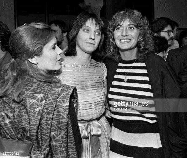 Actress Carrie Fisher Penny Marshall and Judy Belushi attend a showing of 'The Second City