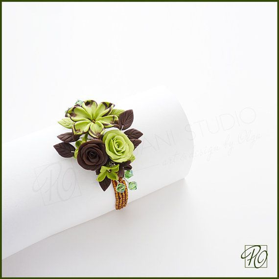 Wrist Corsage Light Green Brown Polymer Clay Floral Bracelet, Romantic Wedding Corsage Prom Corsage. Stretch Small Bracelet. Ready to ship.