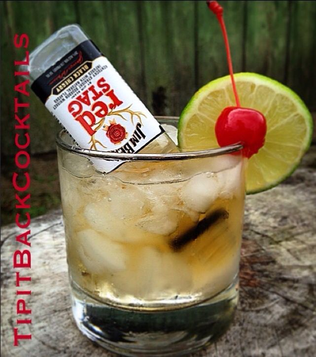Keeping it simple with this delicious cocktail!  Brass Buck...  1 mini bottle of Red Stag Jim Beam black cherry Top off with Ginger Ale  Garnish: Lime Wheel and Maraschino cherry and enjoy.
