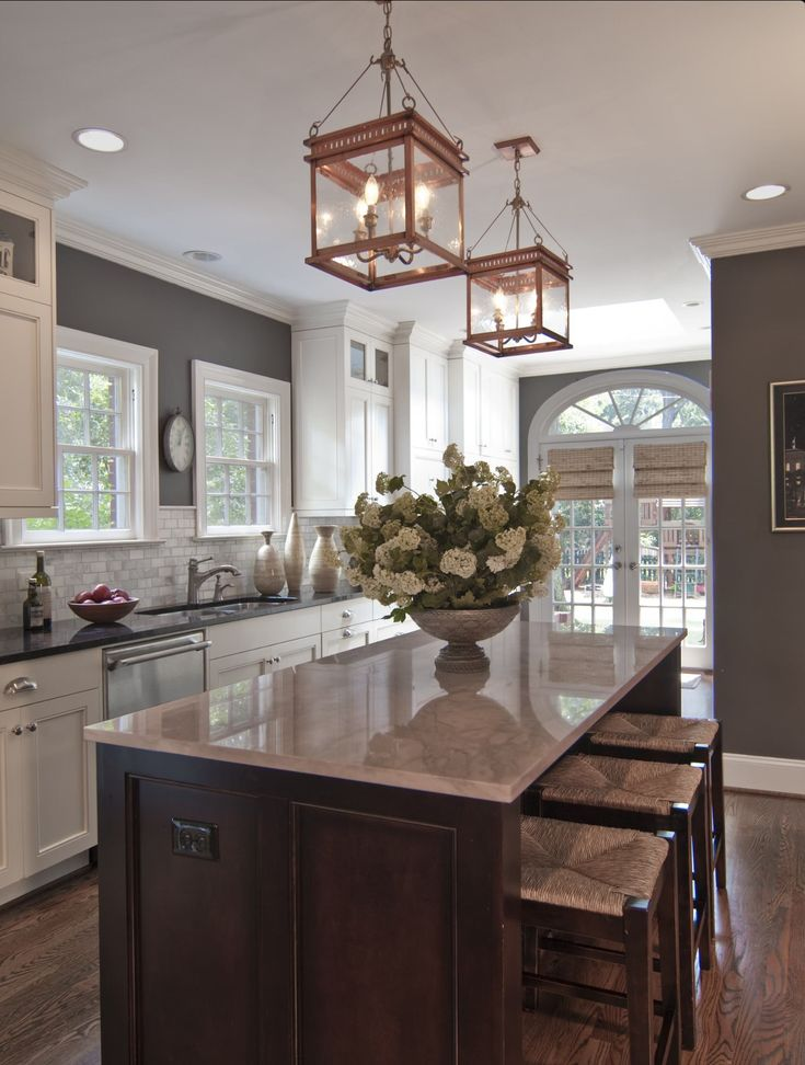 Traditional Kitchen Design Also Kitchen Island Popular Granite Colors And  Antique Lantern Style And Traditional Wooden Stools With Plait Accent Also  White ...