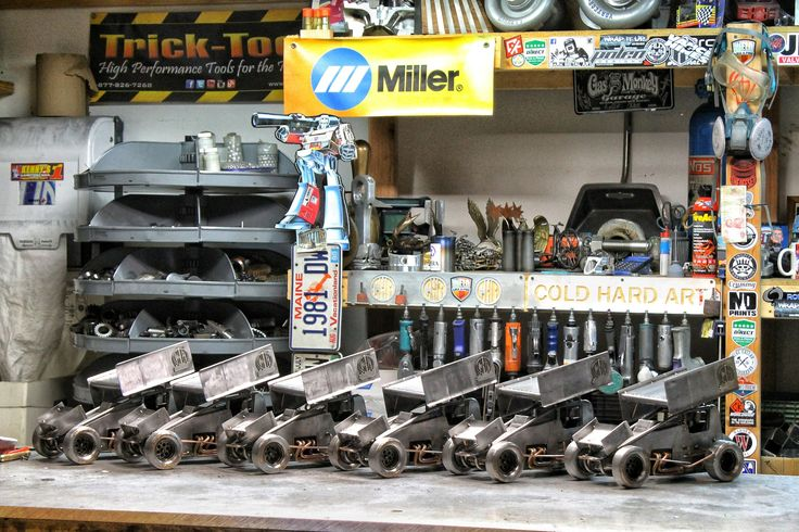 Winged sprint car metal art  racing cold hard art sculpture miller welders