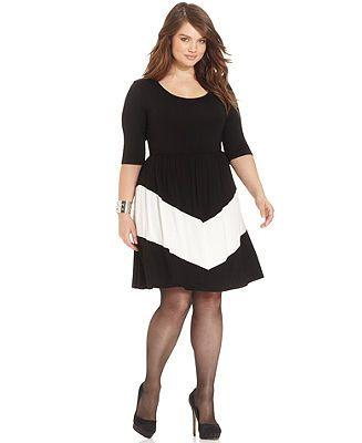 ING Plus Size Three-Quarter-Sleeve Chevron A-Line Dress - Plus Size Dresses - Plus Sizes - Macy's