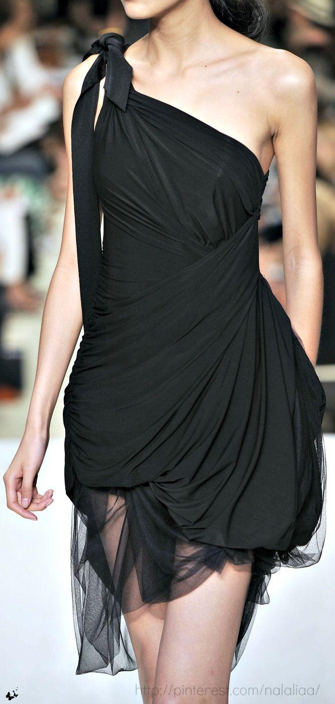 Vera Wang '10 - black one shoulder dress with sheer fabric at the bottom