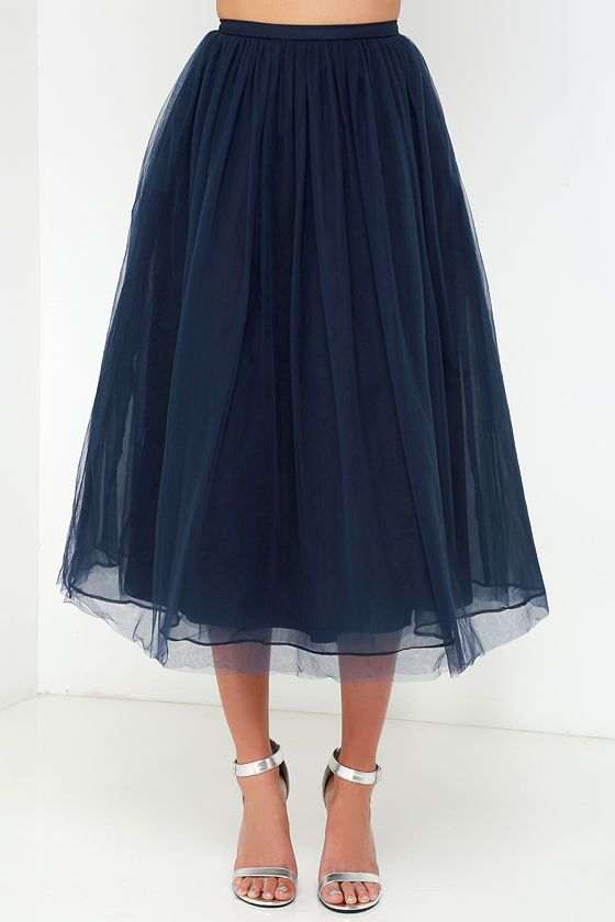 Give it a Twirl Navy Blue Tulle Midi Skirt at Lulus.com!