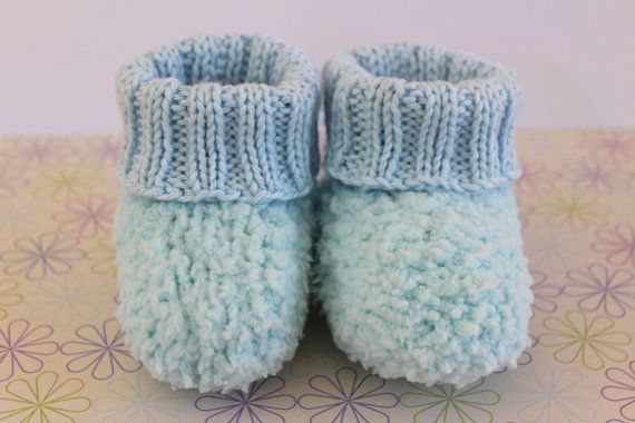 Baby Boy Booties Fluffy Baby Booties Blue Crib by Pinknitting