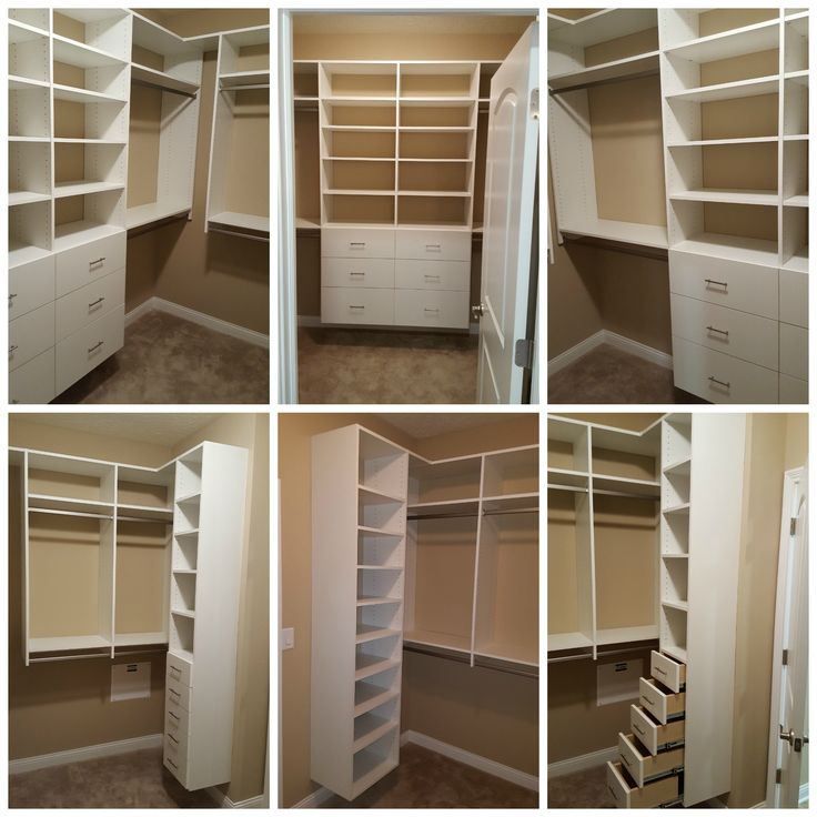 white melamine walk in closet with double hang drawers. Black Bedroom Furniture Sets. Home Design Ideas
