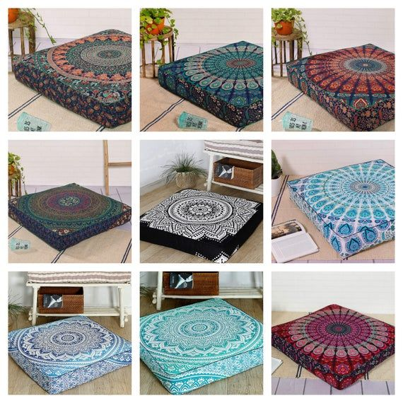 Square Floor Pillow Pouf Cushion Cover Meditation Floor Cushion