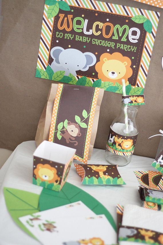 Safari Jungle Animals Baby Shower DIY by stockberrystudio on Etsy, $10.00