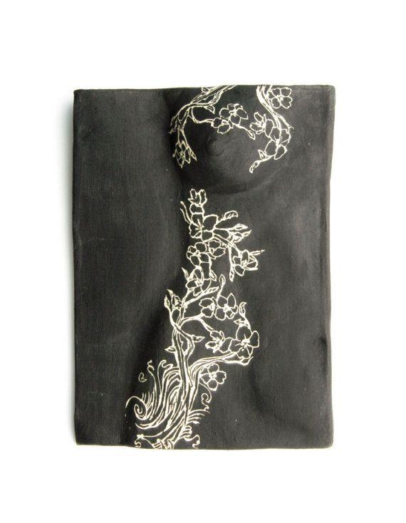 Nude Ceramic bas relief Ceramic Wall Art Designer - Corinda Genev Yakuza Girl Series