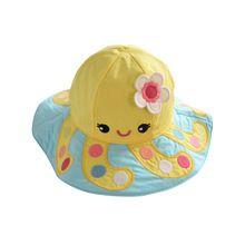 Bebé niños gorras chicos o chicas casquillo del verano 100% algodón pulpo amarillo sol sombrero del cubo del bebé 0-6 años ajuste envío gratis(China (Mainland))