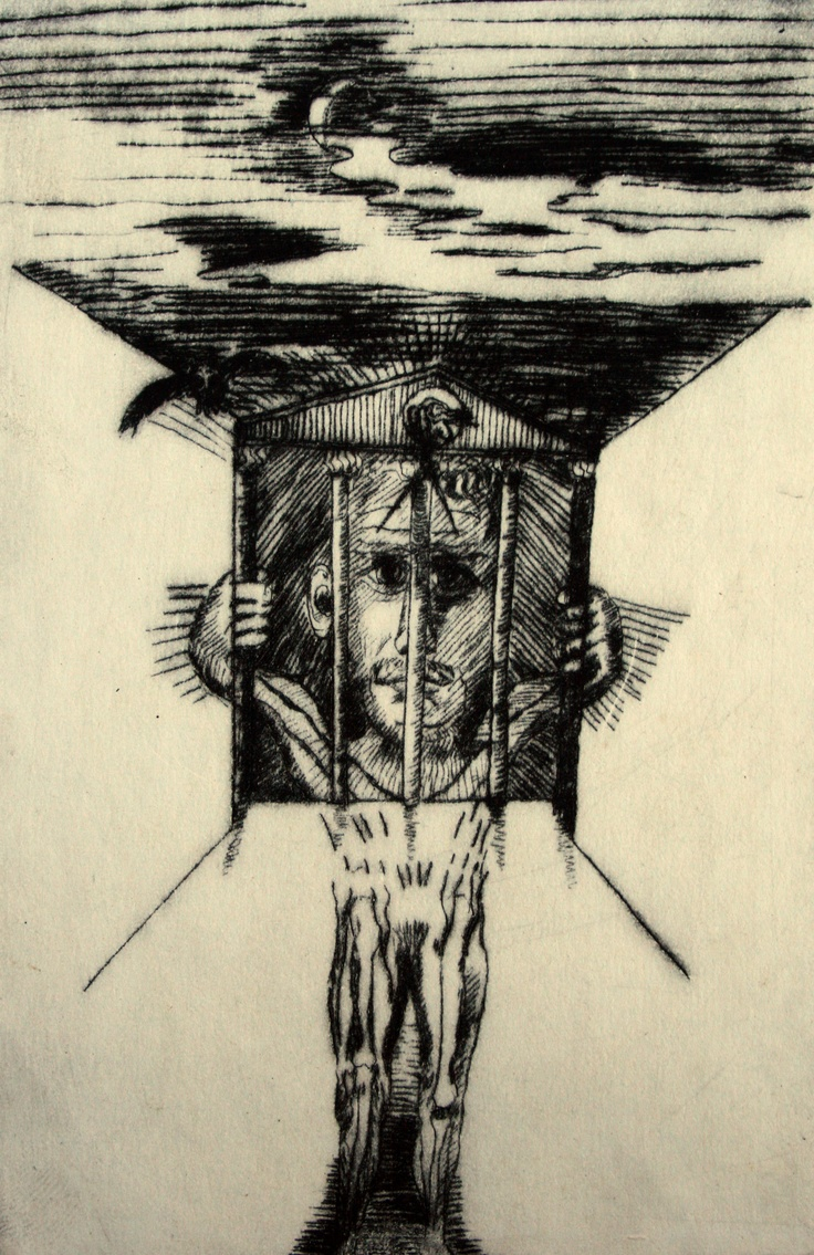 Imprisoned mind with owl. c. 1989? acetate drypoint