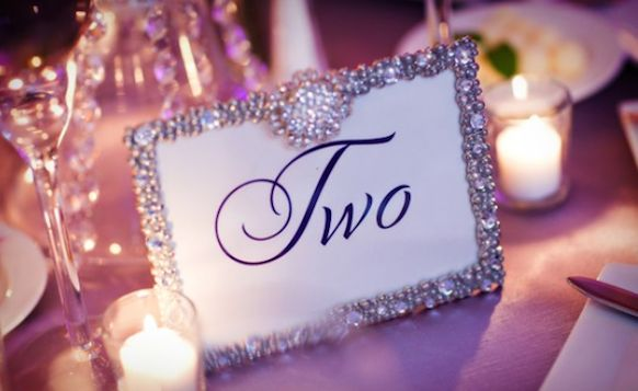 Love the shiny frames for tables...Follies-Style Table Numbers | Bride Ideas