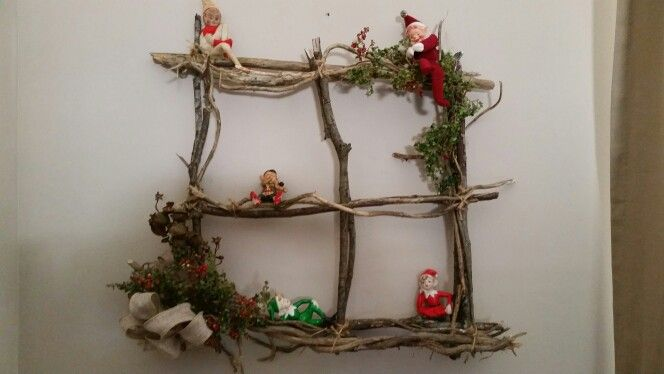 My twig window..a good perch for some vintage elves