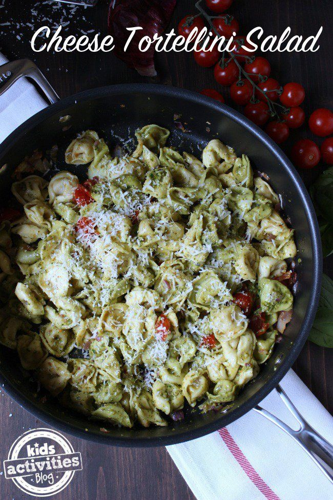 This Easy Cheese Tortellini Salad is perfect in a pinch! It combines one of our kids favorites, with the perfect pasta topping -- basil pesto.