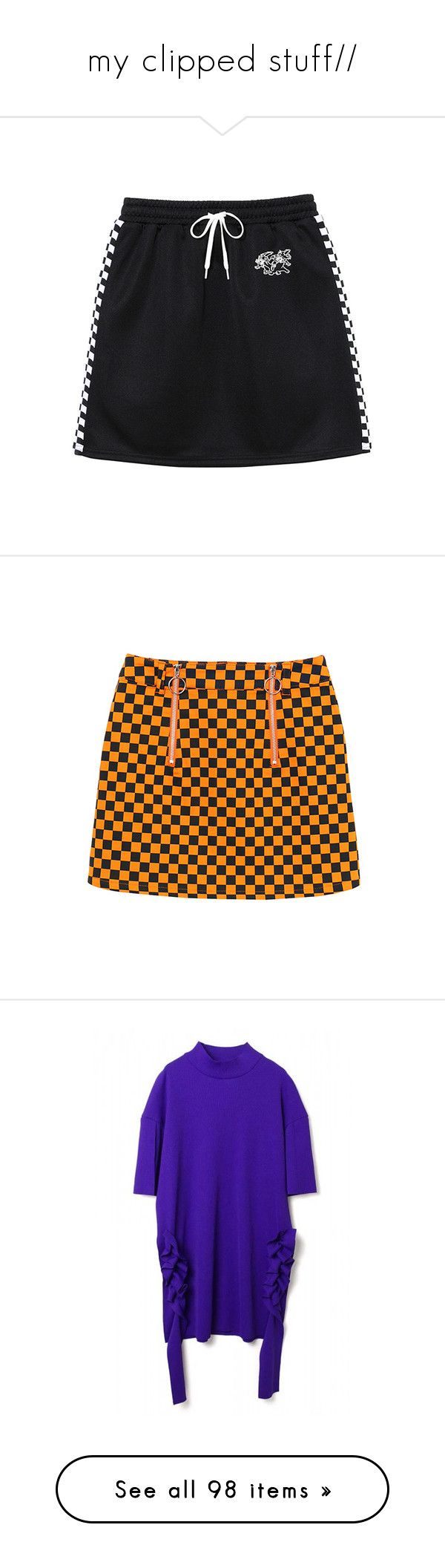 """my clipped stuff//"" by bangtanfashion ❤ liked on Polyvore featuring skirts, puffy skirts, puff skirt, jersey skirt, orange skirts, zip skirt, zipper skirt, tops, t-shirts and faux t shirt"
