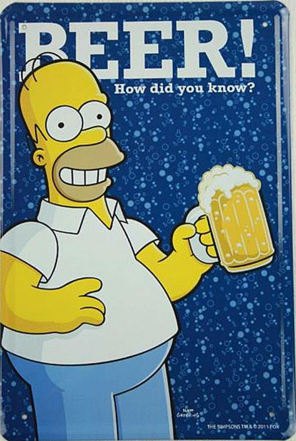 Homer Simpson Beer How Did You Know metal sign le 2030