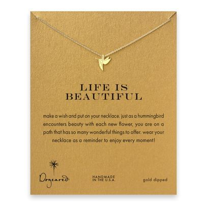 life is beautiful hummingbird necklace, gold dipped - Dogeared