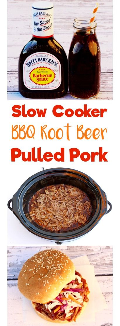Easy Crock Pot BBQ Root Beer Pulled Pork Sandwich Recipe! The perfect Slow Cooker meal for tailgating and game day! AD http://www.sweetbabyrays.com/Recipes/Slow-Cooker-BBQ-Root-Beer-Pulled-Pork/?utm_campaign=Fall2016Recipes&utm_source=Frugal%20Girls&utm_medium=blog