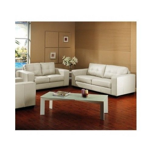 Ivory Leather Sofa Loveseat Living Room Furniture Set Sofas Off White Modern New #Modern