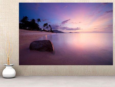 WM128 - Purple Sunrise At Lamai Beach in Thailand photo wallpaper removable wall mural