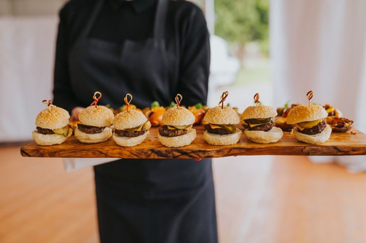 The perfect wedding canapé (I think). By Flying Pig Catering. Photo by Benjamin Stuart Photography #weddingphotography #weddingfood #canapés #minisliders #miniburgers #flyingpigcatering