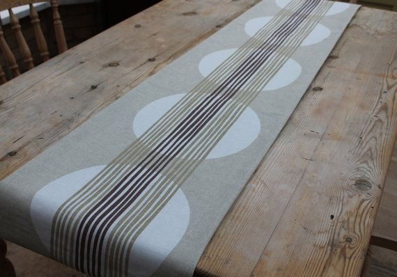 """Modern table runner, contemporary table runner, circles and stripes, natural ivory and brown lined 2.3m/90"""" approx"""