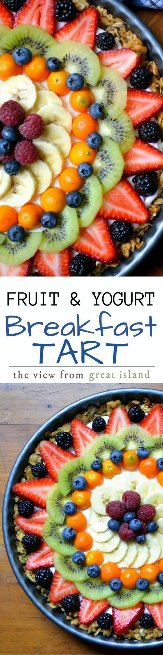 Beautiful Fruit and Yogurt Breakfast Tart ~ this gluten free tart is perfect for any occasion, just use whatever fruit is in season!   brunch   Mother's Day   Easter   Fruit tart   fruit pizza   healthy   Whole 30   Paleo