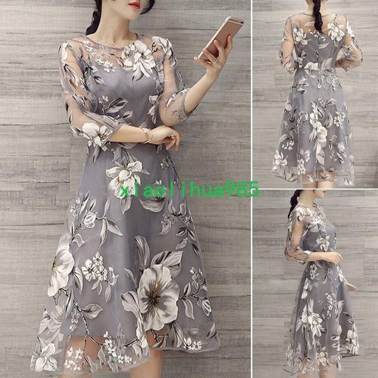 Ladies Elegant Evening Organza Floral Dress Beach Party Cocktail Maxi Long Dress