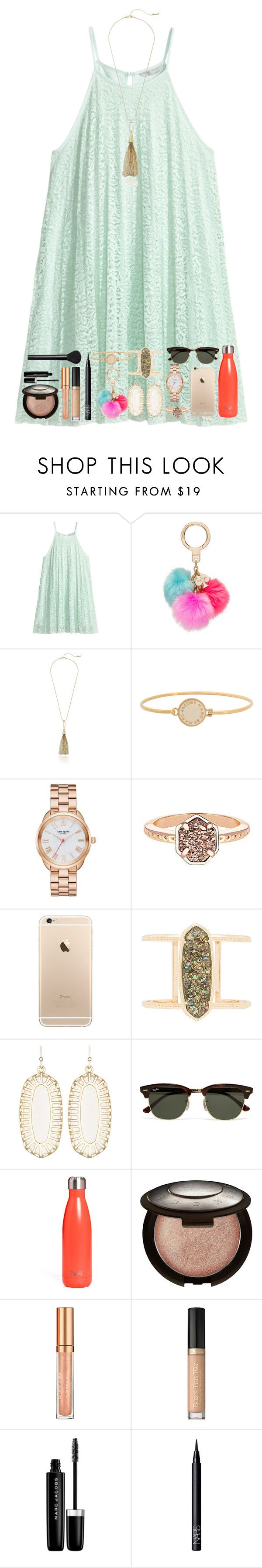 """Untitled #105"" by tortor7 ❤ liked on Polyvore featuring H&M, Kate Spade, Kenneth Cole, Marc by Marc Jacobs, Kendra Scott, Ray-Ban, S'well, Becca, Elizabeth Arden and Too Faced Cosmetics"