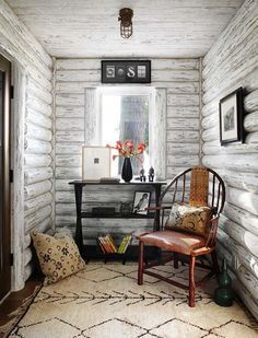 Lake Cabin-Wisconsin-Jessica Jubelirer White washed log cabin