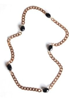 Onyx X Long Gold Necklace