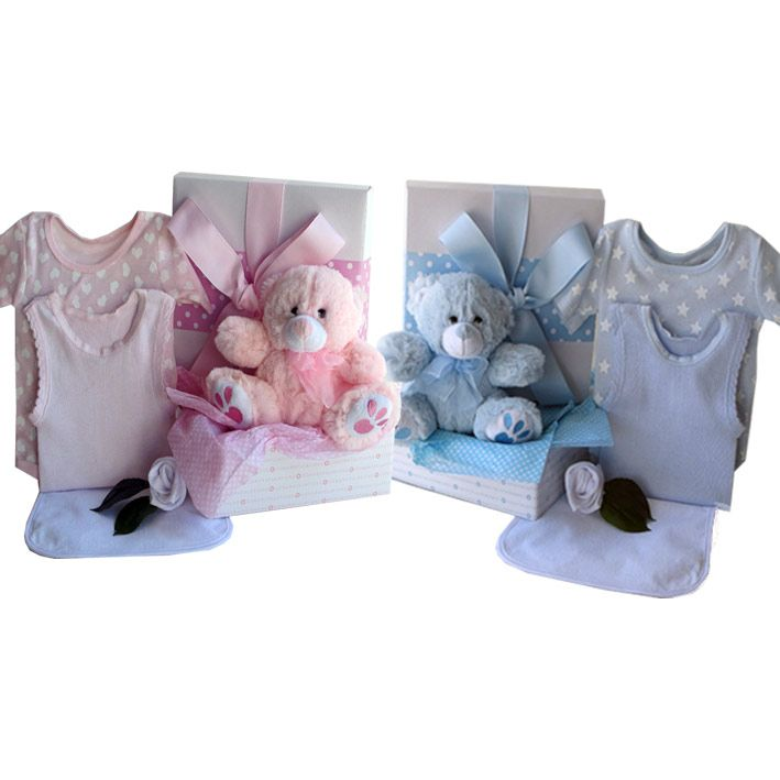 Two Little bears in a box baby girl and baby boy twins #twinsbabygifts #babygiftsfortwins #twinsbabyhampers