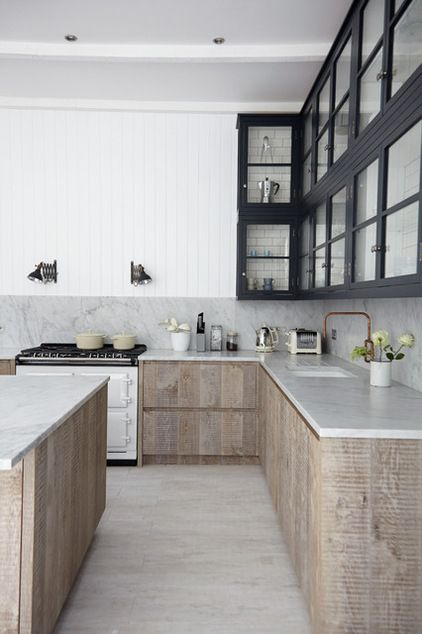 counters with interesting wood and black frames