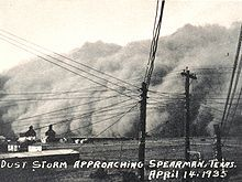 Black Sunday refers to a particularly severe dust storm that took place on April 14, 1935, as part of the Dust Bowl. It was one of the worst dust storms in American history and it caused immense economic and agricultural damage. Affecting primarily Oklahoma and Texas, it is estimated to have displaced 300 million tons of topsoil from the region.